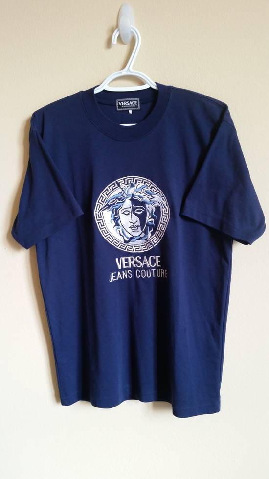 Versace Jeans Couture Medusa Head Greek Key Medallion Embroidered Tee Shirt Size US XL / EU 56 / 4 - 17