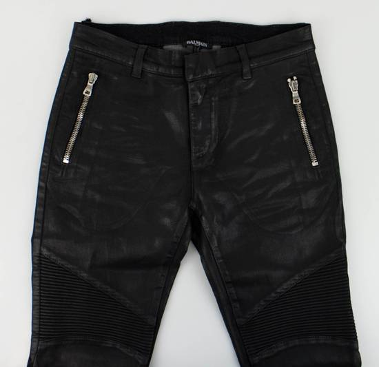 Balmain BNWT Biker Skinny Waxed Denim Black Zipper Jeans Size US 30 / EU 46