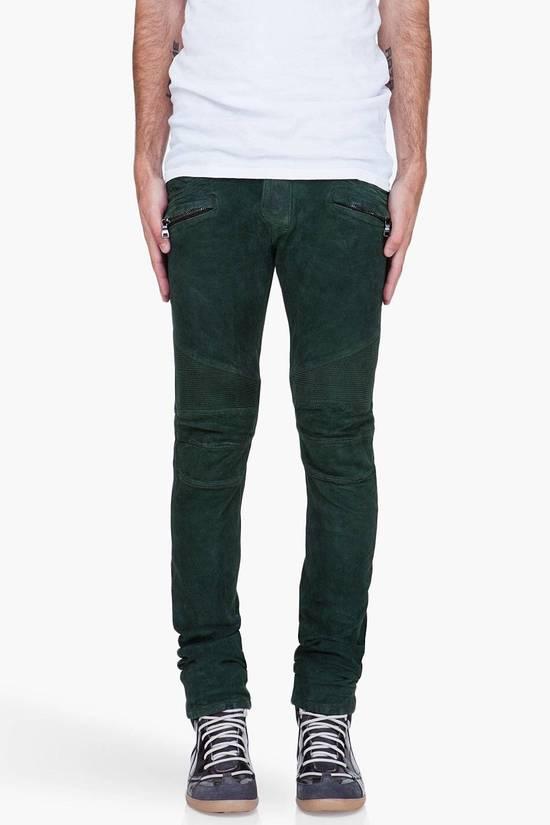 Balmain Balmain Green Lamb Suede Leather Biker Pants Size: 28-XS Size US 28 / EU 44 - 9