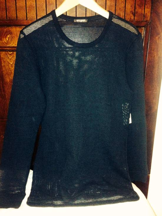 Balmain Balmain Black Mesh Cotton & Linen Long Sleeve Size US M / EU 48-50 / 2 - 4