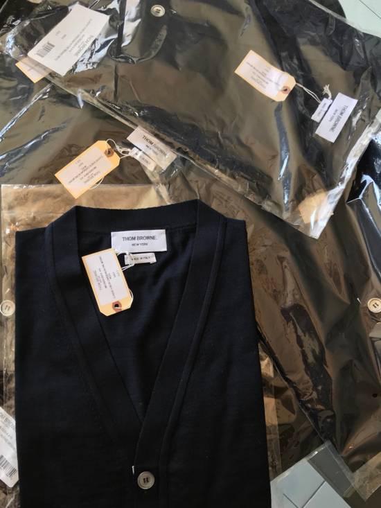 Thom Browne Navy Merino Wool Classic 4 Bar Cardigan Size US XL / EU 56 / 4 - 3