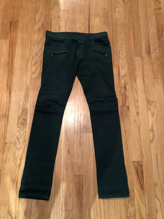 Balmain Balmain Biker Jeans Green Cotton Size US 31