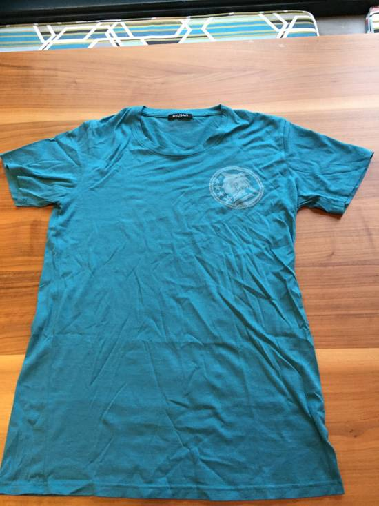 Balmain Light Blue Balmain Tee with White Crest Size US L / EU 52-54 / 3