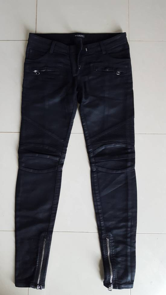 Balmain Decarnin-era waxed biker jeans Size US 30 / EU 46