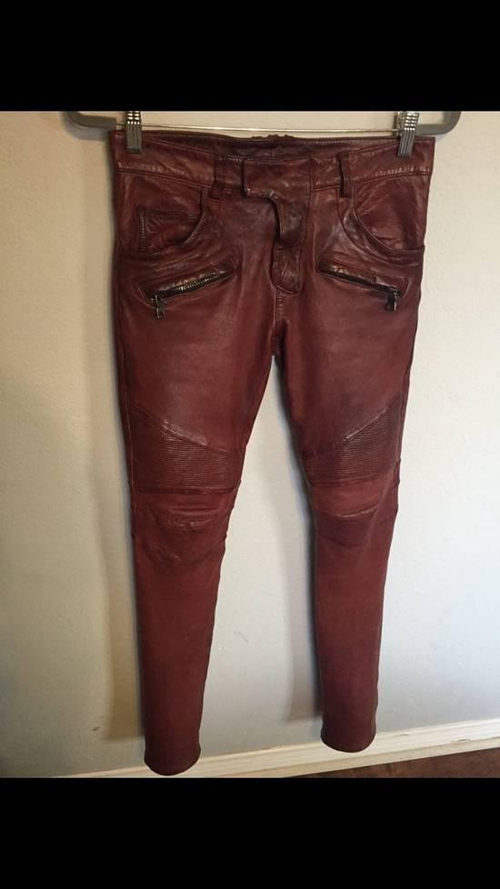 Balmain Balmain Burgundy Lamb Leather Biker Pants Size: 28-XS Size US 28 / EU 44 - 6