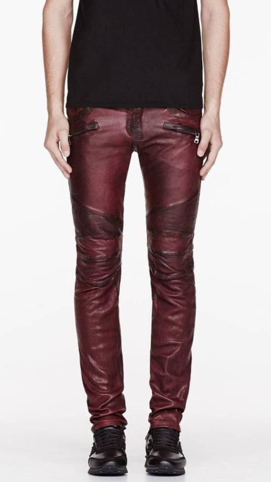 Balmain Balmain Burgundy Lamb Leather Biker Pants Size: 28-XS Size US 28 / EU 44