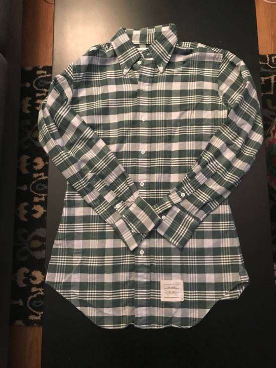 Thom Browne Long Sleeve Green Plaid Woven Shirt Size US XS / EU 42 / 0