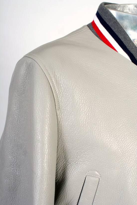 Thom Browne Thom Brown Deerskin Leather Varsity Jacket Grey Size 3 EU50 Medium RRP $3325 Size US M / EU 48-50 / 2 - 10