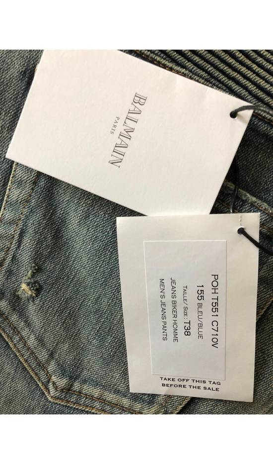 Balmain Blue Distressed Biker Jeans Size US 38 / EU 54 - 4