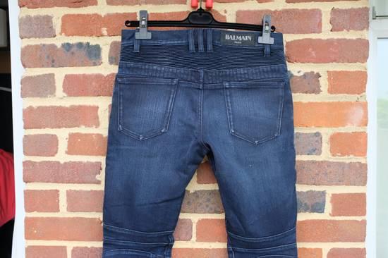Balmain Dark Blue Double Zip Biker Jeans Size US 29 - 4