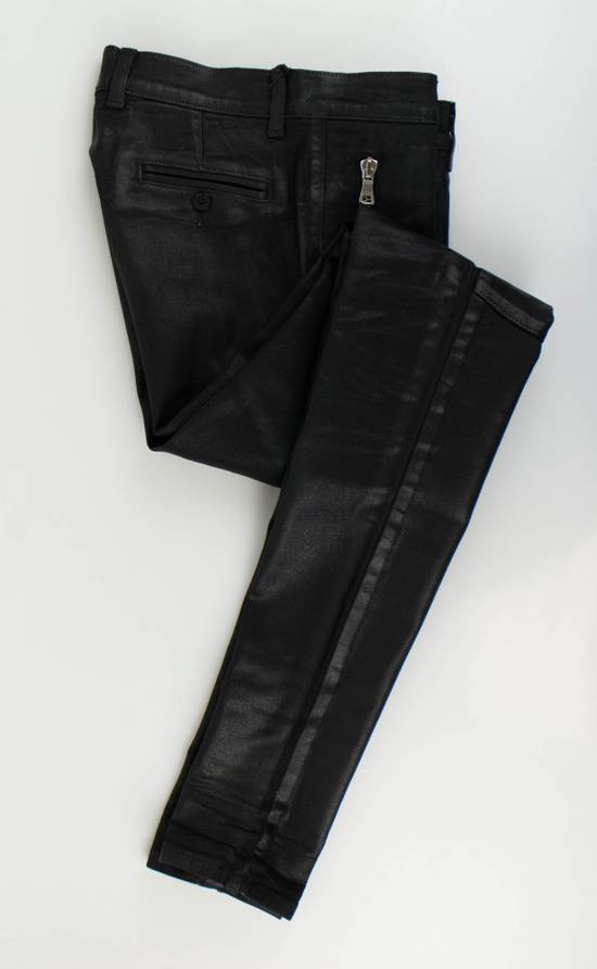 Balmain BNWT Biker Skinny Waxed Denim Black Zipper Jeans Size US 30 / EU 46 - 1