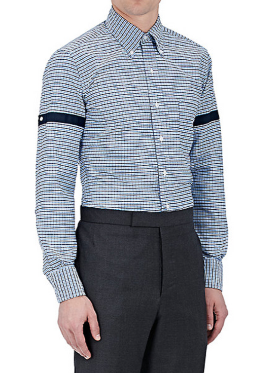 Thom Browne Blue Gingham Shirt with Grosgrain Arm Bands NEW Size US L / EU 52-54 / 3 - 3