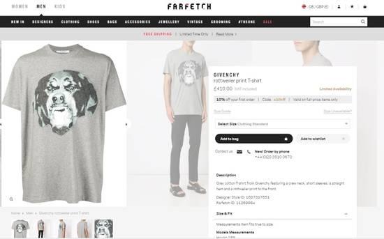 Givenchy Grey Felt Rottweiler T-shirt Size US XS / EU 42 / 0 - 7