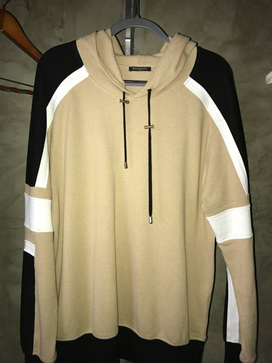 Balmain PANELLED COTTON AND LINEN-BLEND HOODIE Size US XXL / EU 58 / 5