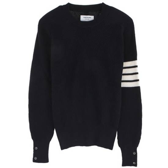 Thom Browne Blue Striped Ribbed-Knit Cotton Sweater Size US M / EU 48-50 / 2 - 1