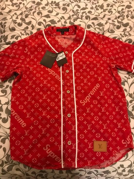 Supreme Louis Vuitton Supreme Red Denim Baseball Jersey Size US S / EU 44-46 / 1 - 6