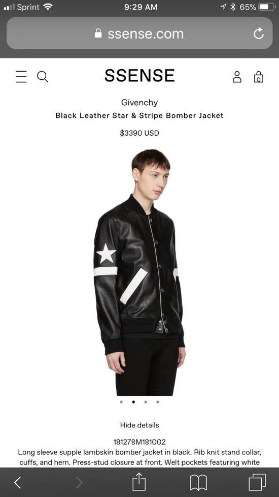 Givenchy Givenchy Black Leather Star And Stripe Bomber Jacket Size US M / EU 48-50 / 2 - 2