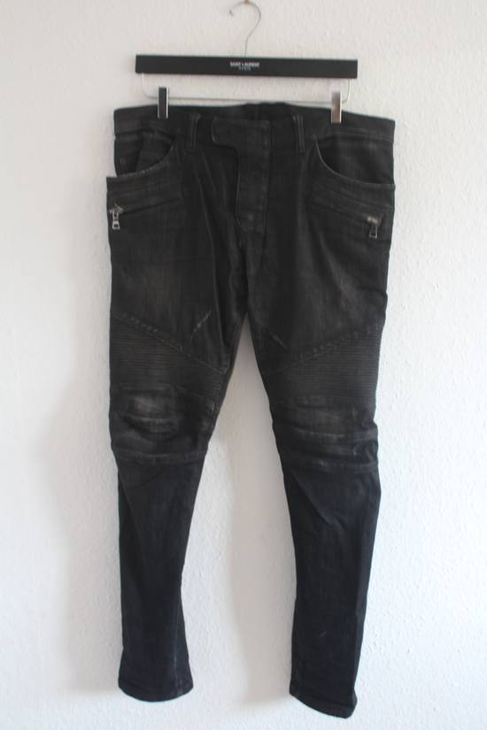 Balmain AW12 Iconic Black Distressed Oiled Skinny Biker Size US 33 - 1