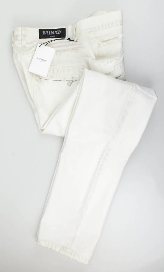 Balmain White Cotton Denim Distressed Biker Jeans Pants Size US 34 / EU 50