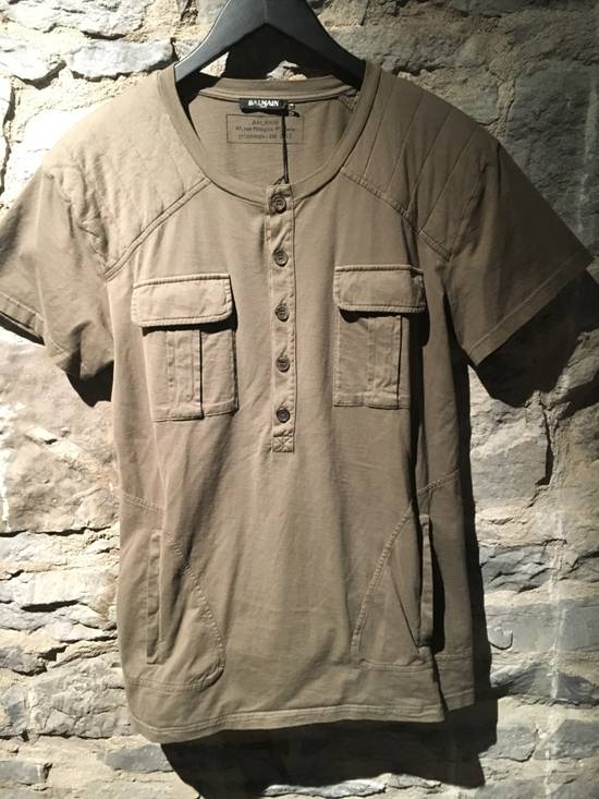 Balmain Balmain Khaki T-Shirt with Kangaroo Pockets Size US L / EU 52-54 / 3