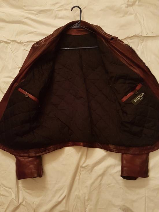 Balmain Oxblood Lambskin Leather Biker Jacket Size US L / EU 52-54 / 3 - 7