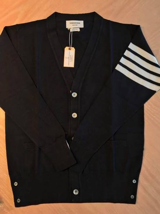 Thom Browne Navy Merino Wool Classic 4 Bar Cardigan Size US XL / EU 56 / 4 - 3