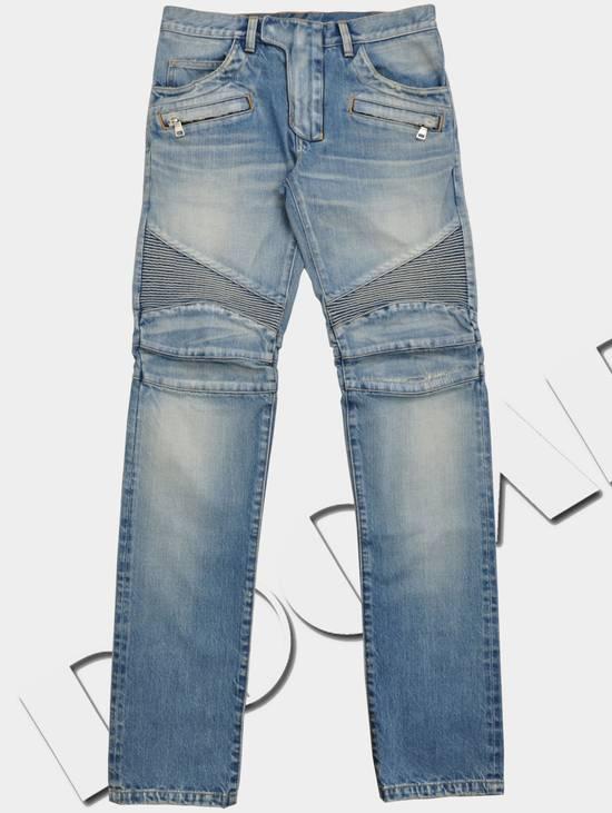 Balmain Slim Signature Light Blue Biker Jeans Size US 29