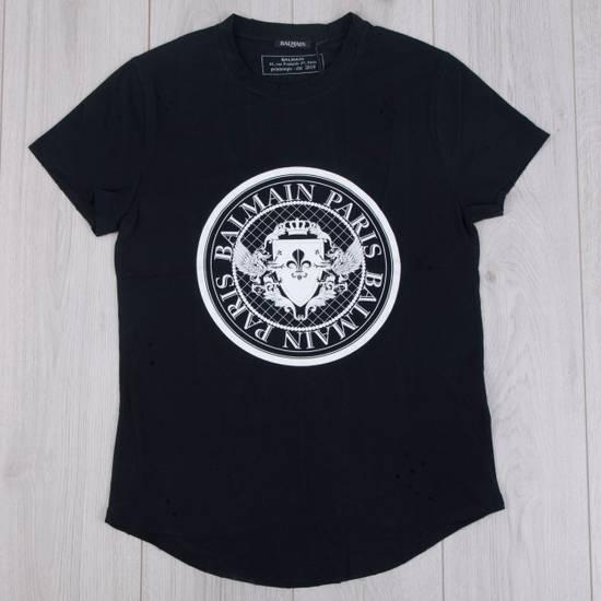 Balmain SS18 Black Cotton Balmain Velvet Logo Print Tshirt Size US S / EU 44-46 / 1