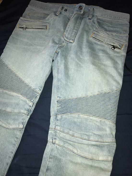 Balmain Blue Distressed Biker Rib Jeans Size US 34 / EU 50