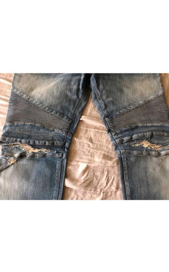 Balmain Blue Distressed Biker Jeans Size US 38 / EU 54 - 1