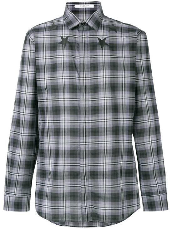 Givenchy $520 Givenchy Star Print Checked Rottweiler Shark Slim Fit Men's Shirt size 43 (L / XL) Size US L / EU 52-54 / 3 - 1