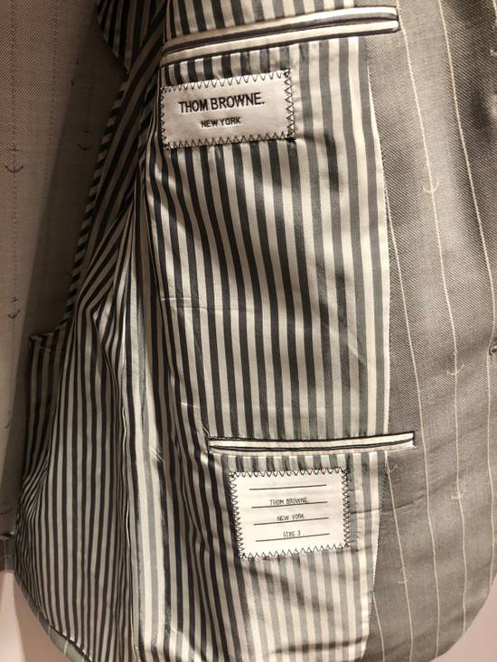 Thom Browne THOM BROWNE CLASSIC BLAZER IN GRAY/WHITE ANCHOR PINSTRIPE Size 40R - 3
