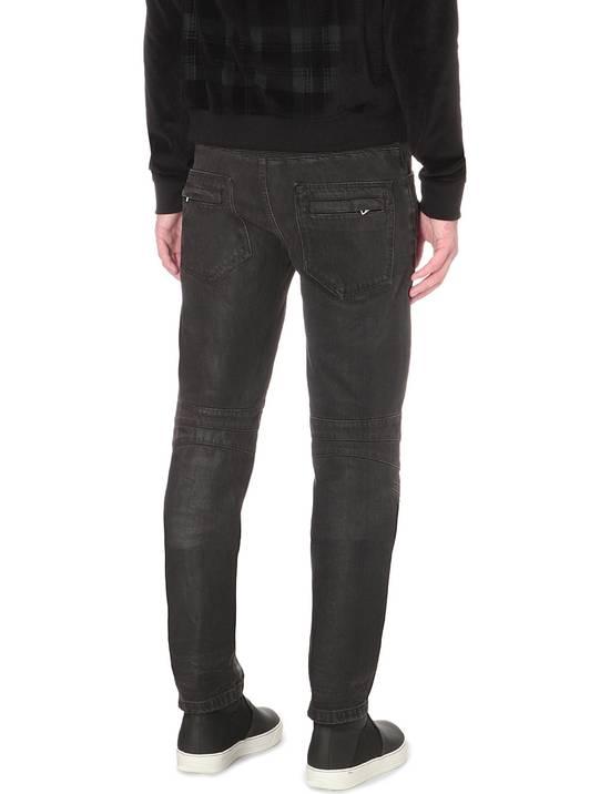 Balmain Black Waxed Biker Jeans Size US 36 / EU 52 - 3