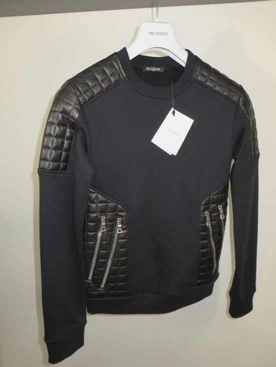 Balmain Quilted leather and cotton sweatshirt Size US XS / EU 42 / 0 - 12