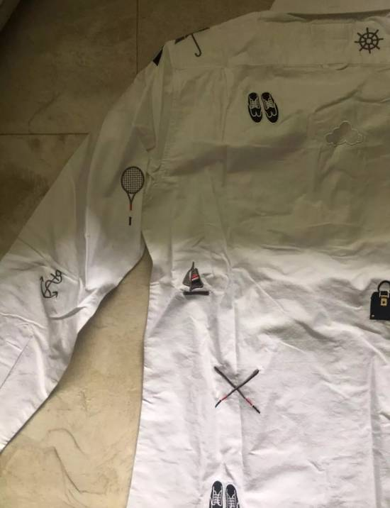 Thom Browne White - Nautical Embroidered All-Over Icon Oxford Size US L / EU 52-54 / 3 - 7