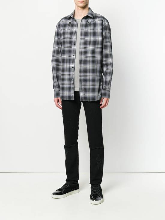Givenchy $520 Givenchy Star Print Checked Rottweiler Shark Slim Fit Men's Shirt size 43 (L / XL) Size US L / EU 52-54 / 3 - 3