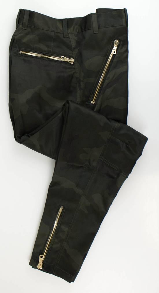 Balmain Men's Green Cotton Blend Camouflage Biker Pants Size L Size US 36 / EU 52