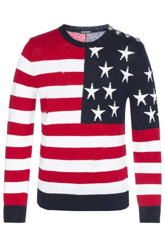 Balmain Brand New Balmain American Flag Raw Trimmed Sweater Size US M / EU 48-50 / 2