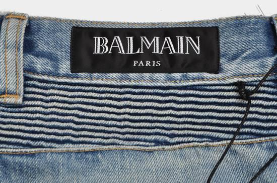 Balmain Slim Signature Light Blue Biker Jeans Size US 29 - 4