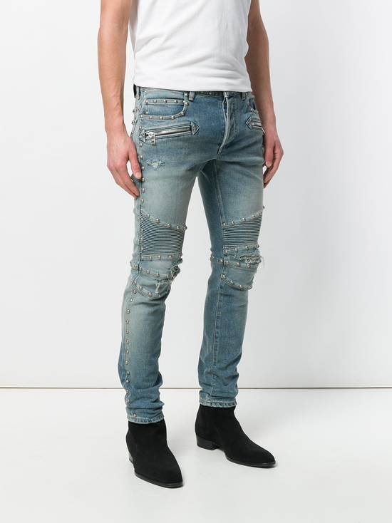 Balmain Balmain Studded Distressed Skinny Moto Jeans Size US 32 / EU 48 - 6