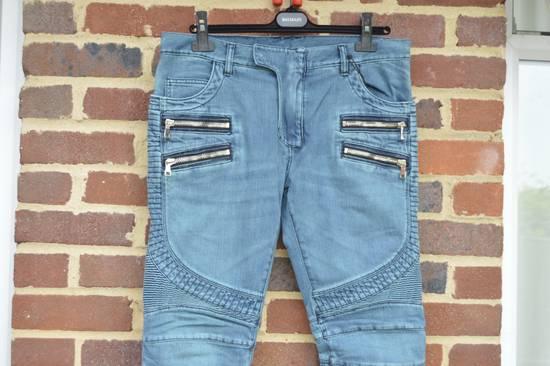 Balmain Turquoise Double Zip Biker Jeans Size US 34 / EU 50 - 4