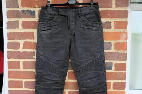 Balmain Black Waxed Biker Jeans Size US 31 - 4