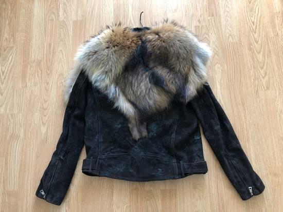 Balmain Waxed Raccoon Fur Suede Biker Leather Jacket Size US XS / EU 42 / 0 - 2