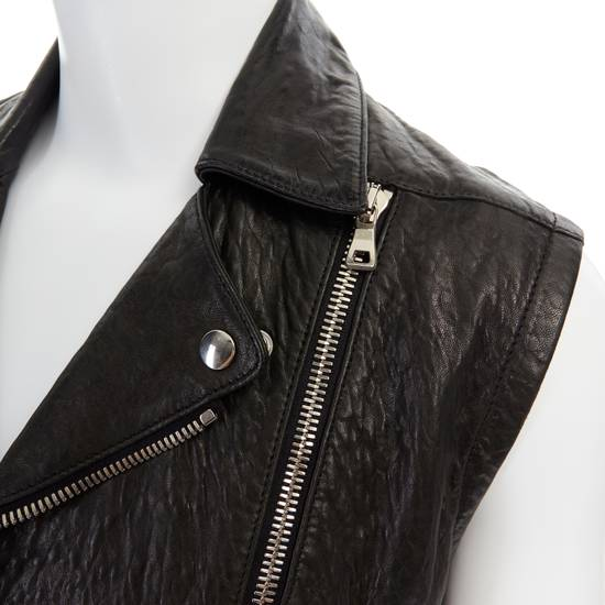 Balmain BALMAIN classic black pebble leather sleeveless biker jacket S FR46 US36 UK36 Size US S / EU 44-46 / 1 - 7