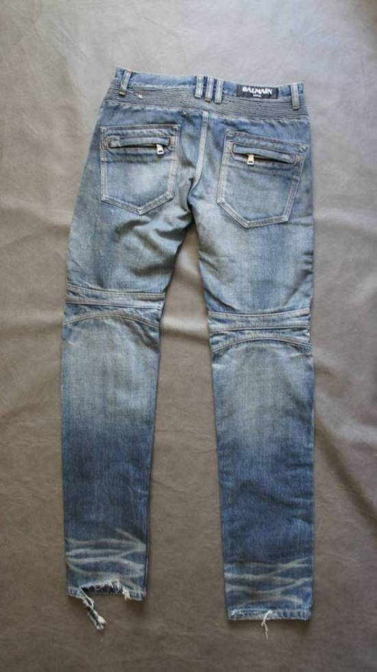 Balmain New! MIJ distressed selvage pleated bikers Size US 29 - 1