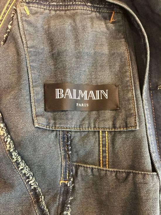 Balmain Navy Blue Wax Coated Denim Trucker Jacket Size US M / EU 48-50 / 2 - 5