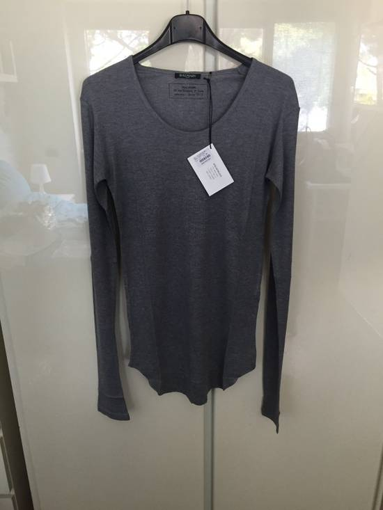 Balmain L/S Grey Ribbed T Size US M / EU 48-50 / 2