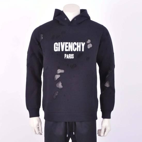 Givenchy Black Destroyed Givenchy Paris Logo Print Hoodie Size US M / EU 48-50 / 2 - 1