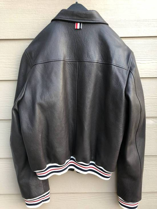 Thom Browne NEW WITH TAG, Striped Detail Leather Jacket (SIZE 4 - FITS SMALLER) Size US XL / EU 56 / 4 - 4