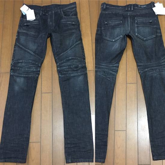 Balmain BNWT : Made In Japan Black Washed Biker Jeans W31 F17.5cm Size US 31 - 1